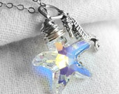 CLEARANCE / SALE - Swarovski Crystal Aurora Borealis Starfish Necklace, Sterling Silver Wire Wrapped Clear AB Starfish Drop, Seahorse Charm