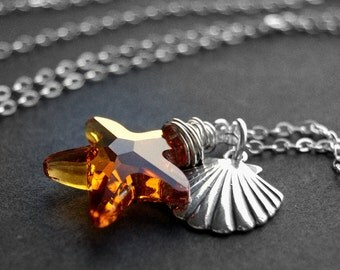 CLEARANCE / SALE - Topaz Crystal Starfish Necklace, Swarovski Crystal Sterling Silver Wire Wrapped Pendant, Seashell Charm