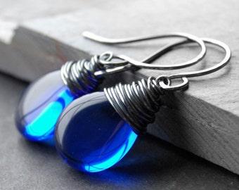 Oxidized Blue Glass Earrings, Sterling Silver Wire Wrapped Cobalt Czech Glass Flat Teardrop, Handmade Sterling Silver Earwires