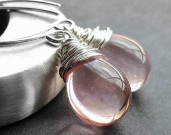 Pink Glass Earrings, Rose Czech Glass Sterling Silver Wire Wrapped Teardrop, Handmade Sterling Silver Earwires