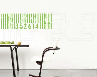 Wall decals BARCODE Vinyl art stickers surface graphics interior decor by Decals Murals (12x39)