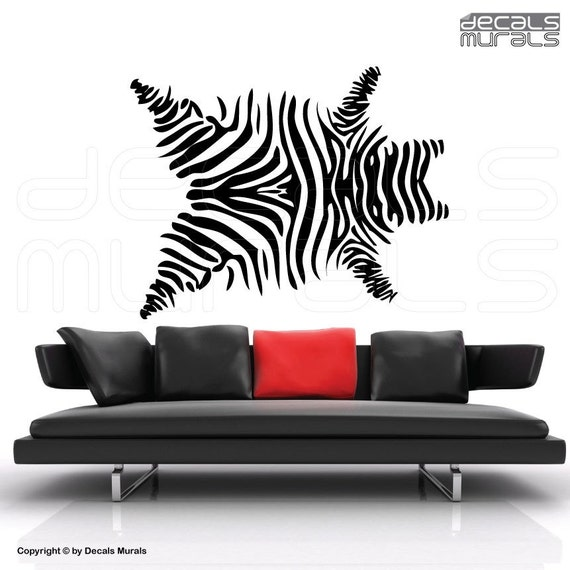 Wall decals ZEBRA SKIN PRINT Vinyl art surface graphics interior decor by Decals Murals (41x53)