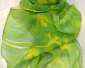 silk chiffon scarf hand painted Emerald Daffodil unique long green yellow luxury wearable art spring summer fashion
