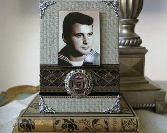 For Dad, Photo Frame for Men, Decorative Masculine Frame, Gifts for Men, brown black grey, handmade photo frames for your picture