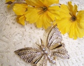 Beautiful Signed Gerrys Butterfly Brooch Gold Tone Rhinestone VTG Jewelry Vintage Pin