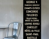 PARIS METRO Subway Art, Typography Print, Canvas Bus Scroll, French Sign. 20 x 60