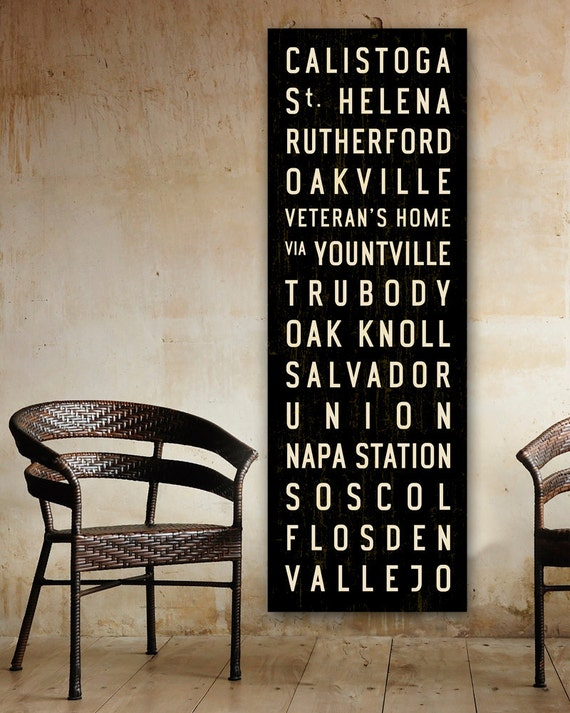NAPA Valley Train & Bus Roll Wall Hanging, Wine Country Word Art, Canvas Subway Sign. 20 x 60