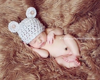 Teddy Bear HAT Newborn Baby Photo prop in WHEAT w/buttons Photography Hat Infant Boy Girl Photo shoot The Perfect GIFT all Babies Newborns