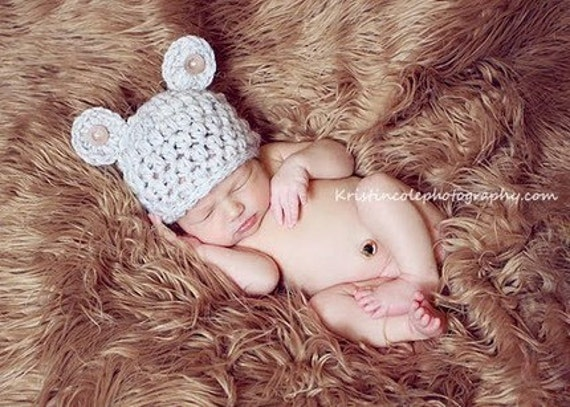 Teddy Bear HAT Newborn Baby Photo prop in WHEAT with buttons Photography Hat All  Infant Girl Boy Photo Shoot Available more COLORS