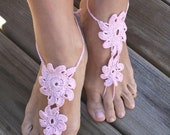 Crochet barefoot sandals, sunrise pink nude shoes, wedding, sexy, yoga, anklet , beach pool