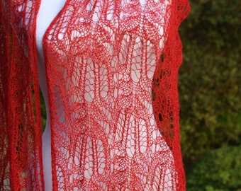 Amy Pond, Red  Scarf,  Lace , Doctor Who, free shipping to US