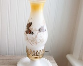 Butterfly Lamp, Hurricane lamp, Country Home Decor, Butterflies, Brown, Gold, Vintage Lamp, Vintage lighting, Cottage Chic, Woodland Home