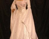 renaissance dress, medieval dress, handfasting dress, elven dress, embroidered dress, Scottish widow hood, wedding dress, custom made