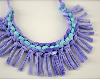 Turquoise Purple Statement Necklace - Tribal Fabric necklace recycled jewelry