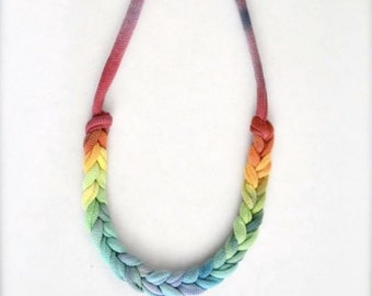 Ombre Rope Statement Necklace - Fabric rainbow pride braided fabric jewelry fiber