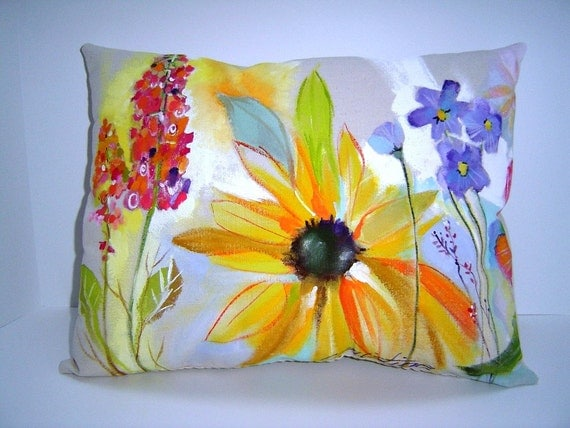 SALE -Summer On Canvas - 14X18 - Hand Painted - Garden Charm - Home Decor - Gift - Watercolor - Art Pillow