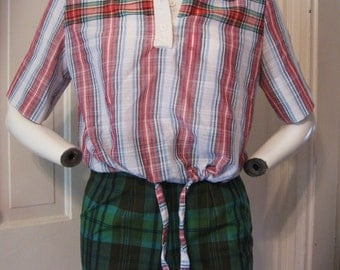 1950/60s Bobbie Brooks cropped plaid thin lightweight poly-cotton blend country picnic summer beach vacation collared shirt - women's sz M/L