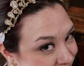 Isabella - Golden Crystal Ribbon Headband - Feel Like Royalty