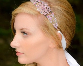 Michelle - Large Vintage style Silver Jeweled Ribbon Headband in Pink