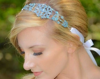 Michelle - Large Vintage style Silver Jeweled Ribbon Headband in Light Sapphire Blue / Peacock