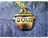 Small Pot of Gold Necklace - Antique Gold Pewter Pot of Gold Charm on a Delicate Gold Plated Cable Chain or Charm Only