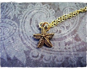 Tiny Gold Starfish Necklace - Antique Gold Pewter Starfish Charm on a Delicate Gold Plated Cable Chain or Charm Only