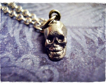 Tiny Silver Skull Necklace - Antique Pewter Skull Charm on a Delicate Silver Plated Cable Chain or Charm Only