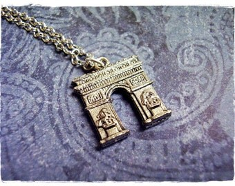 Silver Arc de Triomphe Necklace - Antique Pewter Arc de Triomphe Charm on a Delicate Silver Plated Cable Chain or Charm Only