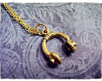 Gold Headphones Necklace - Antique Gold Pewter Headphones Charm on a Delicate Gold Plated Cable Chain or Charm Only