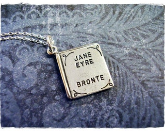 Jane Eyre Book Necklace - Sterling Silver Jane Eyre Book Charm on a Delicate Sterling Silver Cable Chain or Charm Only