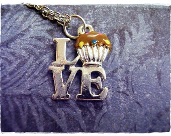 Love Chocolate Cupcake Necklace - Brown Enameled Silver Plated Chocolate Cupcake Charm on a Delicate Silver Plated Cable Chain or Charm Only