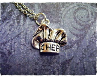 Silver Chef Hat Necklace - Silver Pewter Chef Hat Charm on a Delicate Silver Plated Cable Chain or Charm Only