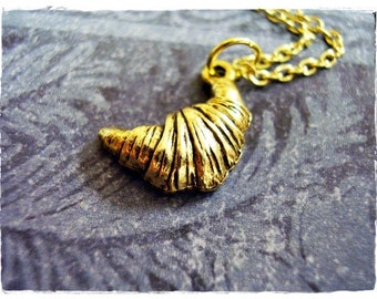 Gold Croissant Necklace - Antique Gold Pewter Croissant Charm on a Delicate Gold Plated Cable Chain or Charm Only
