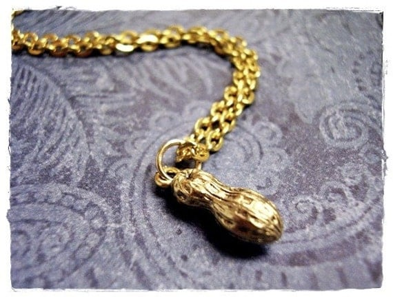 Gold Peanut Necklace - Antique Gold Pewter Peanut Charm on a Delicate Gold Plated Cable Chain or Charm Only