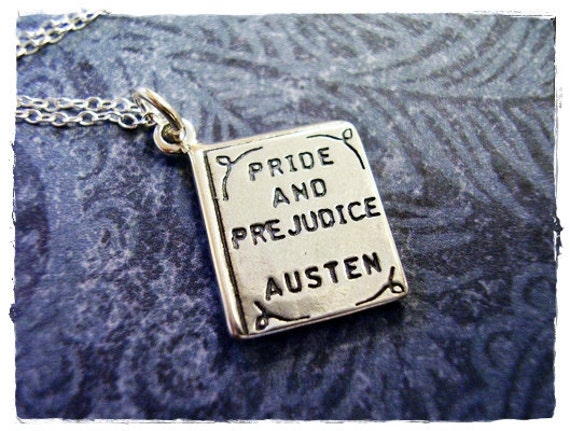 Pride and Prejudice Book Necklace - Sterling Silver Pride and Prejudice Book Charm on a Delicate Sterling Silver Cable Chain or Charm Only