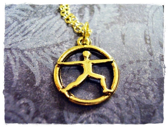 Gold Warrior Pose Necklace - Antique Gold Pewter Warrior Pose Charm on a Delicate Gold Plated Cable Chain or Charm Only