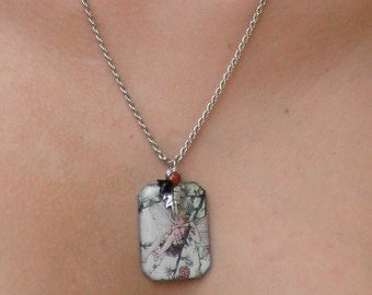 Woodland Legend  Necklace, Fairy Garden Portrait, Sterling Silver Rope Chain, Hand Crafted, OOAK