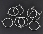 20pcs Wholesale Hoop Earring Findings - Silver Hoop Earwire - Metal Earrings - Bulk Lot Ear Wires Leverback Hook Supplies 1 inch 35mm A55