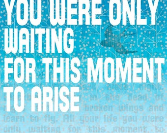 Beatles Lyrics BLACKBIRD 8x10 word art print - ready to frame - aqua orange or robin's egg blue