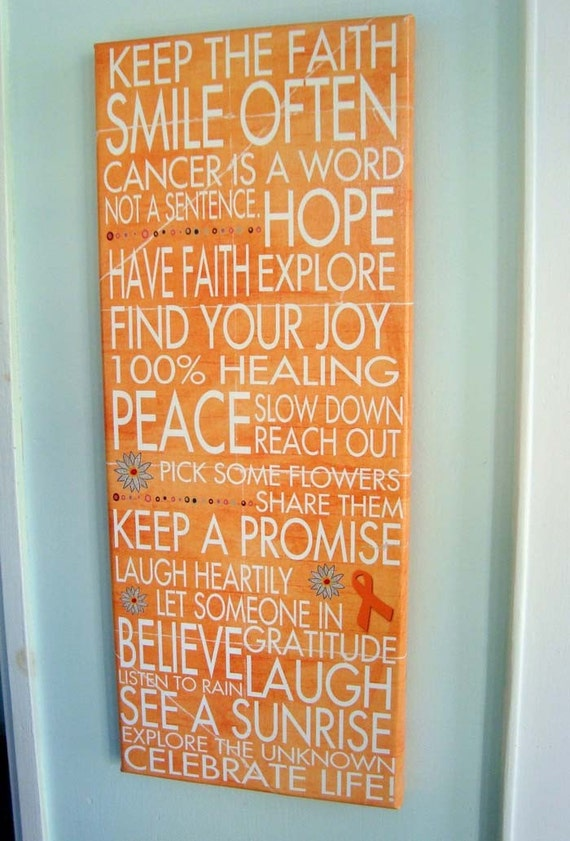 Keep the Faith, Smile Often, Celebrate LIfe Gallery Mount Canvas 8x20 Word Art Print - wellness love cancer