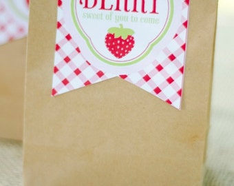 Strawberry Party PRINTABLE Favor Tags (INSTANT DOWNLOAD) by Love The Day