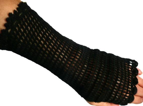 Black Crochet Mittens Fine Fishnet Lace  Arm Warmers, Fingerless Gloves, Crochet Fingerless Gloves