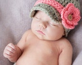 Newborn Baby Girl Infant Newsboy Flower Hat
