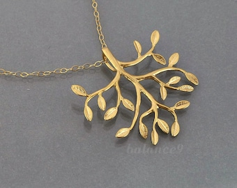 Gold Tree Necklace, tree of life necklace, dainty leafy branch charm pendant, gold filled chain, everyday jewelry, holidays gift by balance9