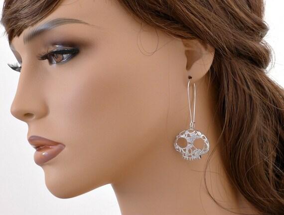 Skull earrings, silver sugar skull drop kidney dangle, flower skull jewelry, halloween gift, calavera, by balance9