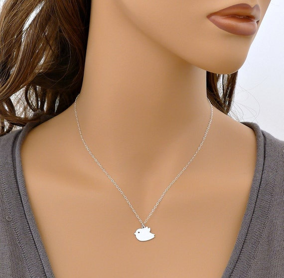 Silver Bird Necklace, small bird necklace, sterling silver chain, delicate charm pendant, simple everyday jewelry, gift, by balance9