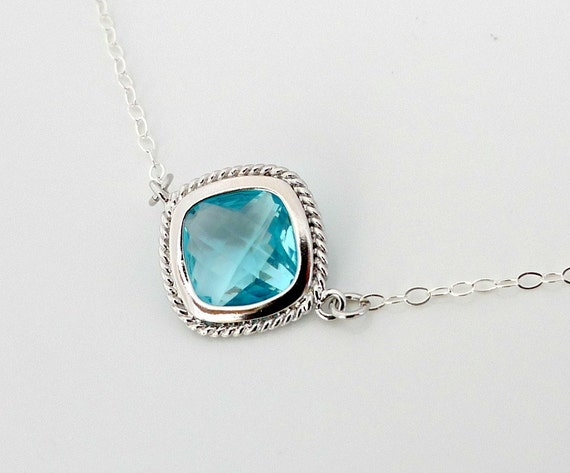Blue crystal necklace, Aqua blue necklace, sterling silver chain, framed glass bezel pendant, delicate everyday jewelry, by balance9