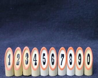 Secret code. Vintage little number tags. 0 to 9 series.