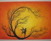 Solar Fae - Original Large Abstract Fine Art Tree Fairy Fantasy Sunscape Landscape Orange Yellow 36x24 By Elizabeth Pfleeger
