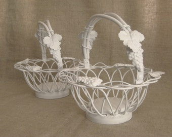 White Vineyard Flower Girl Basket / Slightly Shabby Basket for Wedding or Reception Decor